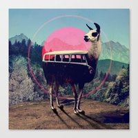 vw bus Canvas Prints featuring Llama by Ali GULEC