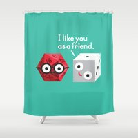 chuck Shower Curtains featuring No Dice by David Olenick