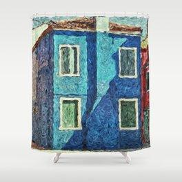 Burano blue house Shower Curtain