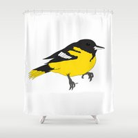 baltimore Shower Curtains featuring Baltimore Oriole by AbbieStewPort