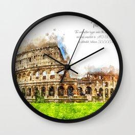 Colloseum, Rome, Aquarell Wall Clock