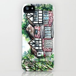 English Tudor-Style House, Watercolour Painting iPhone Case