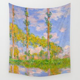 Claude Monet Impressionist Landscape Oil Painting Poplars in the Sun Wall Tapestry