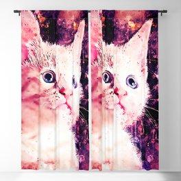 cute white stare gaze kitty splatter watercolor Blackout Curtain