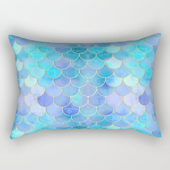 Aqua Pearlescent & Gold Mermaid Scale Pattern Rectangular Pillow