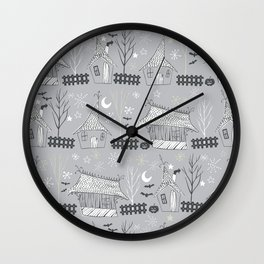 Spooky halloween houses Wall Clock