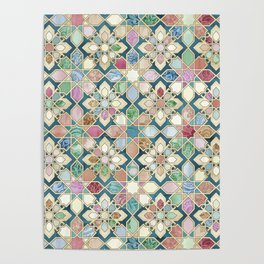Muted Moroccan Mosaic Tiles Poster