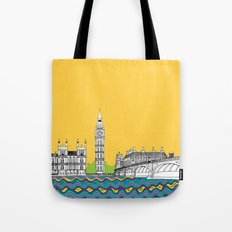 London Town Pop Art with spotty sky Tote Bag