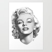 marylin monroe Art Prints featuring Marylin Monroe portrait by kleartist