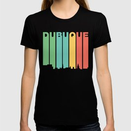 Retro 1970's Style Dubuque Iowa Skyline T-shirt