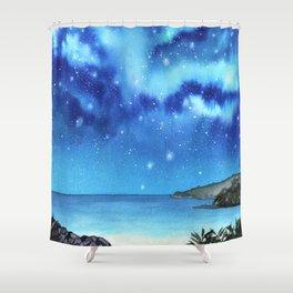 """Blue Paradise"" galaxy landscape painting Shower Curtain"
