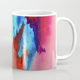 Ice and Fire: a vibrant, colorful, mixed media piece in pinks, blues, and red Coffee Mug