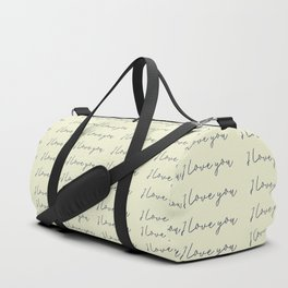 Hand written on old paper: I love you calligraphy script Duffle Bag