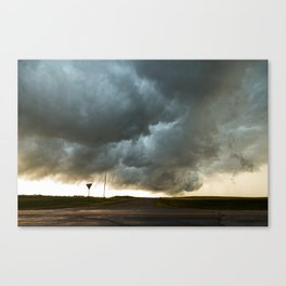 Storm Cloud Over Country Road Canvas Print