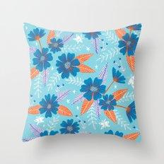 Floral Moths - Blue Throw Pillow