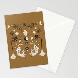 Mid Century Magic Cool Minimal Minimalist Neutral Tones Fantasy Abstract Illustration Moon Sun Tiger Chinese Zodiac Stationery Cards