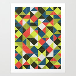 Bold Midcentury Grid Art Print