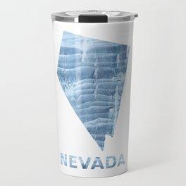 Nevada map outline Light steel blue blurred wash drawing design Travel Mug