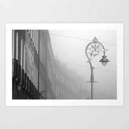 Dublin street lamp in the fog Art Print