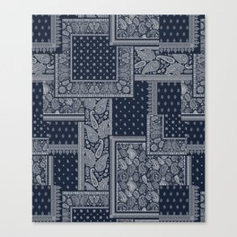 PATCHWORK BANDANA PRINT IN NAVY & WHITE Canvas Print