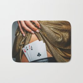 Sexy lady in golden color dress with poker cards combination over black stocking legs Bath Mat