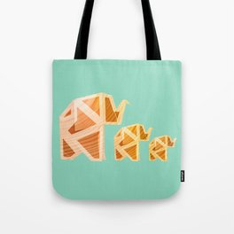 Wooden Origami Elephants Tote Bag