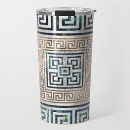 Greek Key Ornament - Greek Meander -Abalone and gold Travel Mug