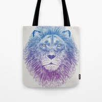 soul Tote Bags featuring Face of a Lion by Rachel Caldwell