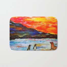 Beautiful Penguins With Sea Lion By The Blue Ocean Painting Bath Mat