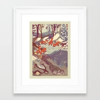 ice Framed Art Prints featuring Fisher Fox by Teagan White