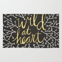 Wild at Heart – White and Gold on Black Rug