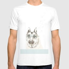 Diver Dog White MEDIUM Mens Fitted Tee