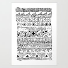 Pizza Pattern (black) Art Print
