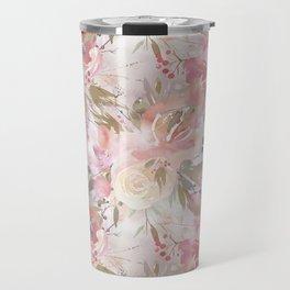 Modern blush pink ivory botanical watercolor floral Travel Mug