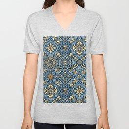 Peranakan Art Nouveau Tiles (Mixed Patterns in Sand/Sea) Unisex V-Neck