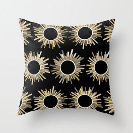 Art Deco Starburst in Black Throw Pillow