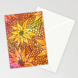 Black flowers on neon painting Stationery Cards