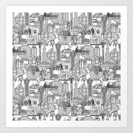 Seattle black white Art Print