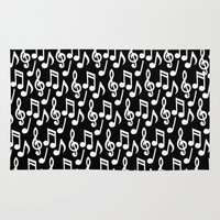 music notes Area & Throw Rugs featuring Black & White Music Notes by Designs by Aryel