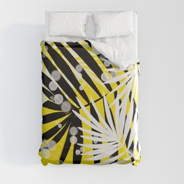 Black-White-Yellow Tropical Leaves Duvet Cover