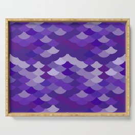 Ultra Violet wave, abstract simple background with japanese seigaiha circle pattern Serving Tray