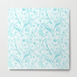 Mermaid Toile - Teal Metal Print