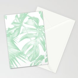 Light Green Tropical Palm Leaves Print Stationery Cards