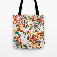 sprinkles Tote Bags featuring Sprinkles  by Laura Ruth