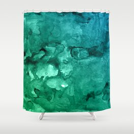 Teal watercolor texture background Shower Curtain