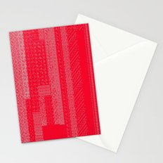 White Over Red Stationery Cards