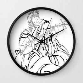 Hokusai, a woman and a shamisen -manga, japan,hokusai,japanese,北斎,ミュージシャン Wall Clock