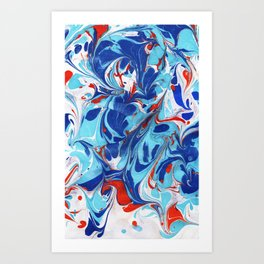 Koi Pond - Marbled Paper Series Art Print
