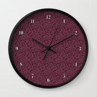 burgundy Wall Clocks featuring Burgundy by Lisi Fkz