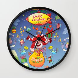 Santa has a Zeppelin to Deliver Christmas Gifts Wall Clock